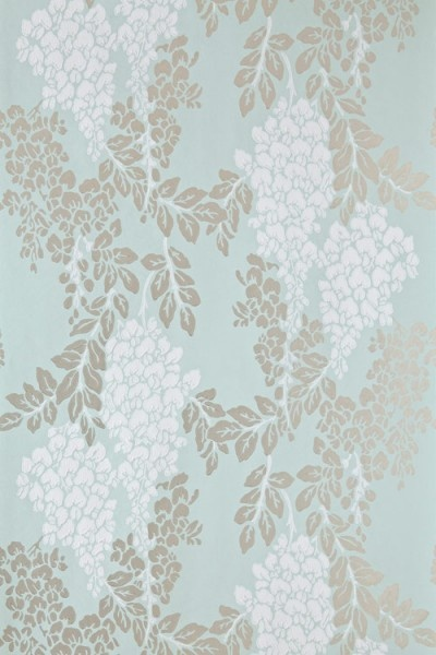 Wisteria (BP 2214) - Farrow & Ball Wallpapers - Wisteria is a classic English floral pattern with its abundant, trailing design of blossoming wisteria. Showing in white and metallic silver on a duck egg blue background - more colours are available. Please request a sample for true colour match.
