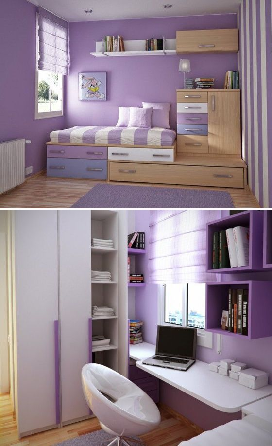 Purple emotional appeal. Strong receive a bedroom, under the bed and metope are received, very warm hue,