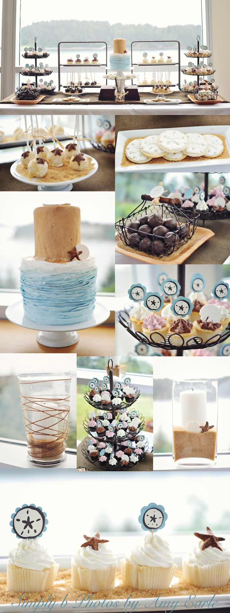lovely beach-themed dessert table... i especially love the sand dollar cookies...
