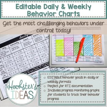 EDITABLE Daily and Weekly Behavior Charts Challenging student behaviors can derail the most well-written lesson. Don't let bad behavior ruin your day, week, or even year! These behavior charts have been very effective with tier 2 and 3 students who need something different than what the rest of the class responds to.