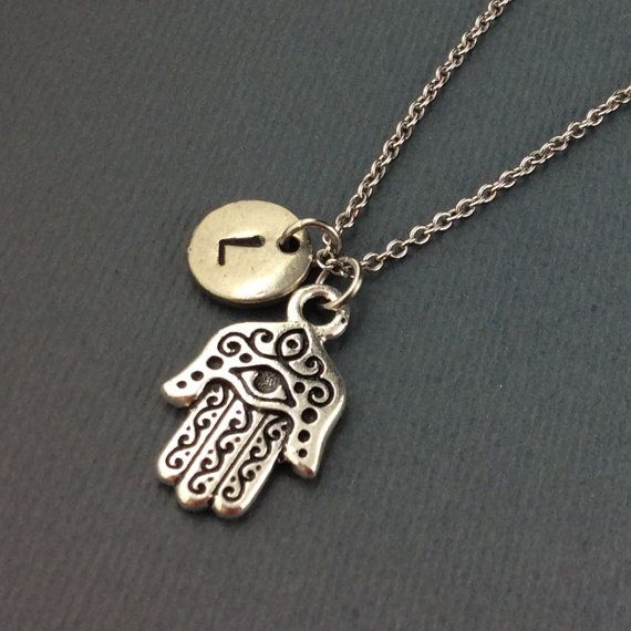 Antique Silver 3D Hamsa Hand Charm Necklace-Personalised With