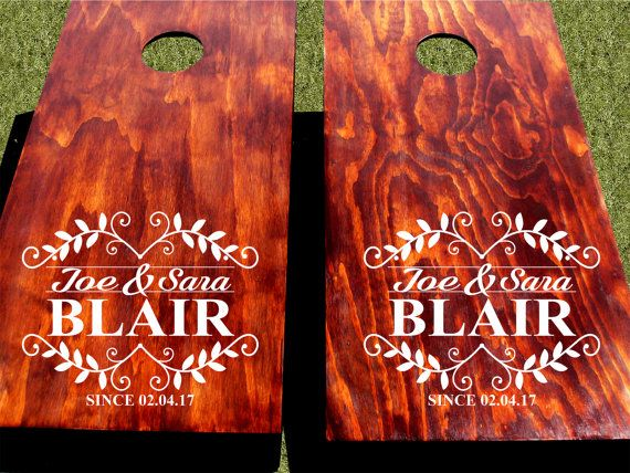 Cornhole Wedding Decals.  Custom Cornhole Decals With Names and Date.  Wedding Name Decals.  Personalized Cornhole Decals for Wedding.