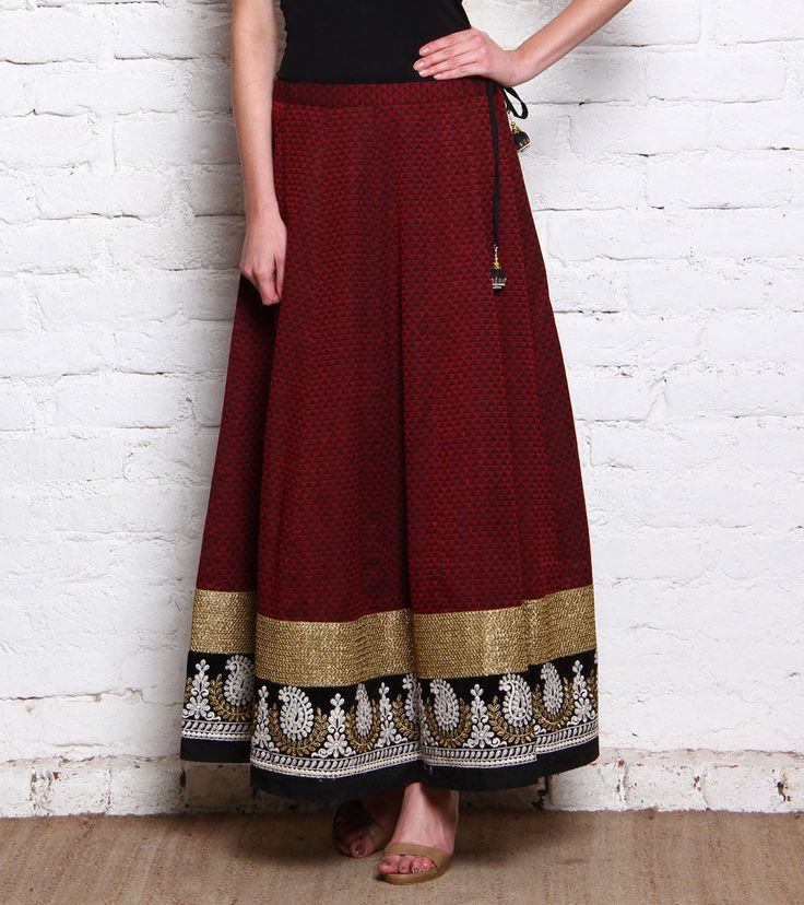 Maroon & Black Embroidered Pure Cotton Skirt