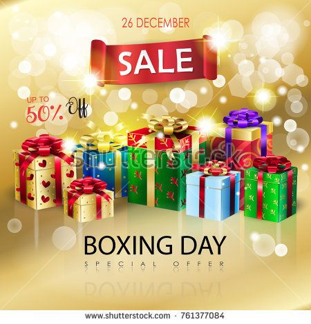 Boxing Day Sale poster. Gift Boxes for Christmas and New Year Winter Holiday, celebrate, beautiful gift boxes with satin ribbon on bokeh lights, defocus gold sparkles background, presents group vector