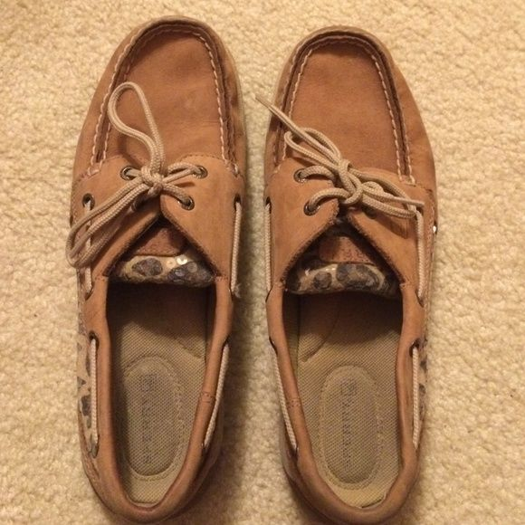 Leopard Sperry's As you can tell they are in very good condition!! Worn once! And not sure if i really want to sell them. Will for a good price or a GOOD trade Sperry Top-Sider Shoes