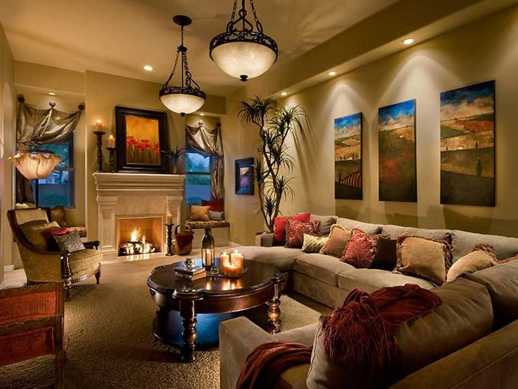 Living Room Feature Wall Design Ideas with artistic picture and artistic accesorries