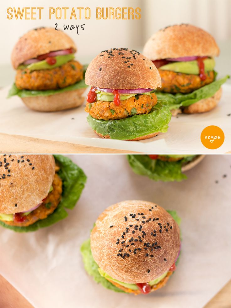 Delicious smokey sweet potato veggie burgers. You can prepare them in two different ways for to get a texture you like. They make a perfect al fresco lunch or dinner. #recipe #recipes #vegan #sweet potatoes #burgers #vegetarian #gluten-free