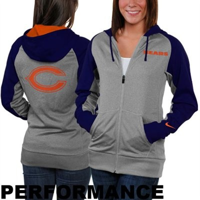Nike Chicago Bears Ladies Die-Hard Full Zip Performance Hoodie - Ash/Navy Blue