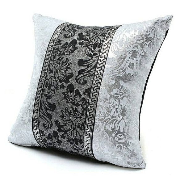 Black And Silver Decorative Pillows : STUFFED 3/4 Black SILVER Throw Pillow Metallic by PaesanoPillows PaesanoPillows Pinterest ...