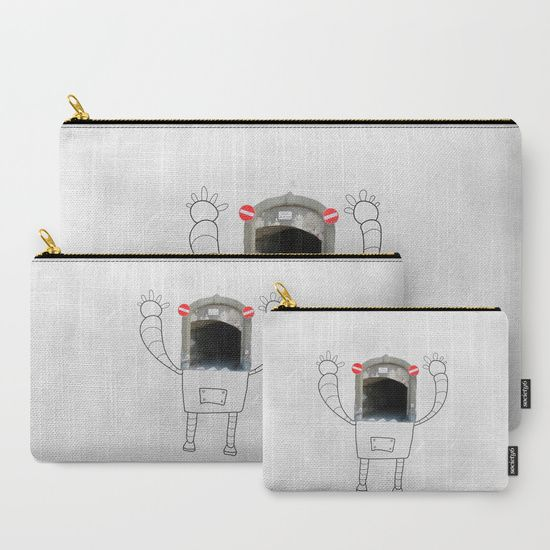 Mr.Robot in Italy Carry-All Pouch    #lostnfoundstudio #illustration #robot #robotlover #photography #drawing #streetart #italy #travel #vector #imagination #pouch #makeuppouch #giftidea #fabricpouch