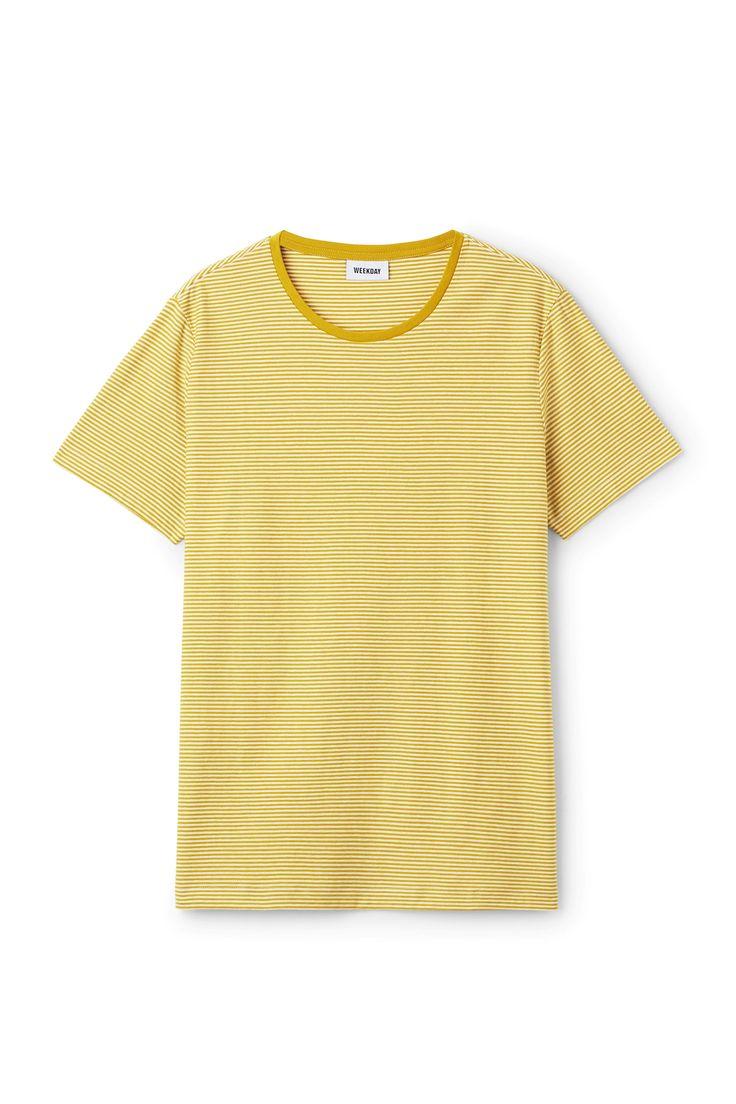 Weekday image 6 of Darko Stripe T-Shirt in Yellow Greenish