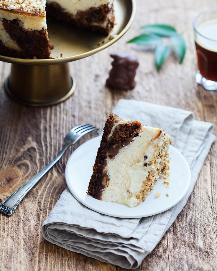 Carrot cheesecake with cream cheese frosting and walnuts  !hellip