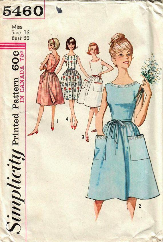 1960s Simplicity 5460 Vintage Sewing Pattern Misses Wrap Dress ...