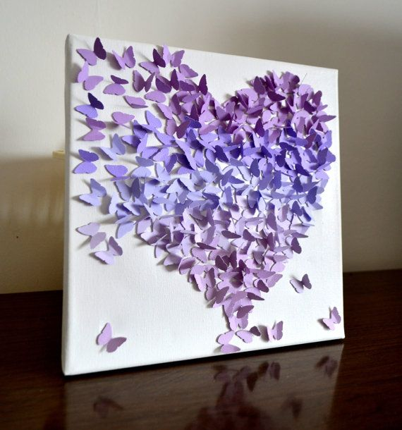 Lavender Ombre - 3D Butterfly Heart/ 3D Butterfly Wall Art / Girl's Nursery Art / Butterfly Theme / Unique Wedding Gift / Gift for Her