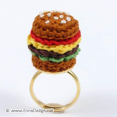 Crochet Amigurumi Ring : Crochet Amigurumi Miniature Hamburger Ring RG-8-2739 ...
