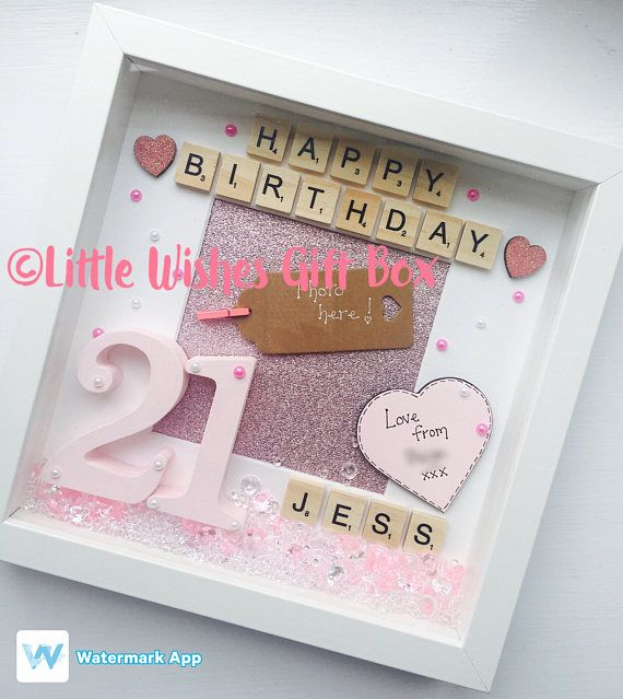 21st Birthday personalised box frame photo frame happy