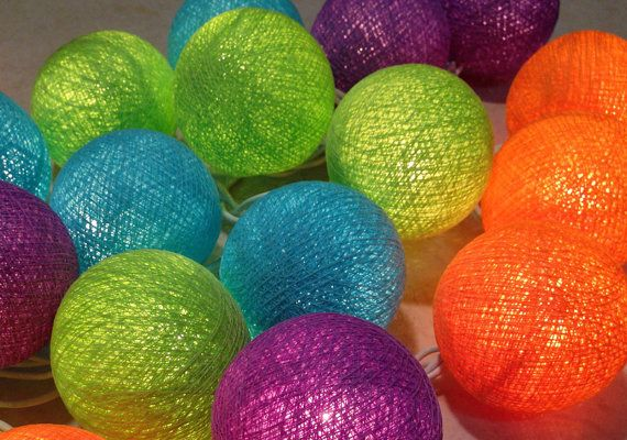 Set the Evening Aglow with Color : 4 Color cotton ball string lights, Green Turquoise Orange Purple