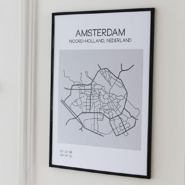 Amsterdam, minimalistische poster van plattegrond, stadsplattegrond
