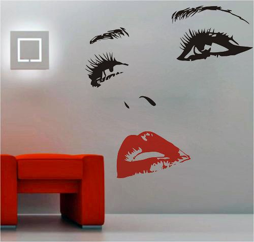 Women's Smile Face with Hot Lips Vinyl Wall Sticker