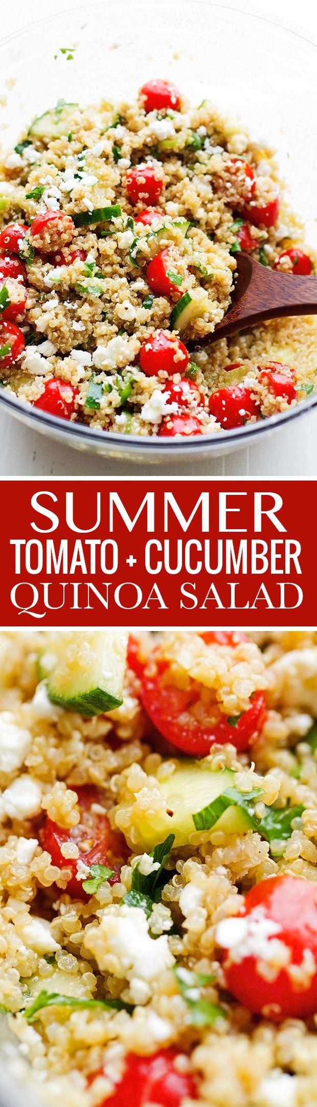Summer Tomato and Cucumber Quinoa Salad - perfect for when you have leftover quinoa! #vegetarian #quinoasalad #cucumbersalad #tomatosalad #tabbouleh | Littlespicejar.com @LittleSpiceJar