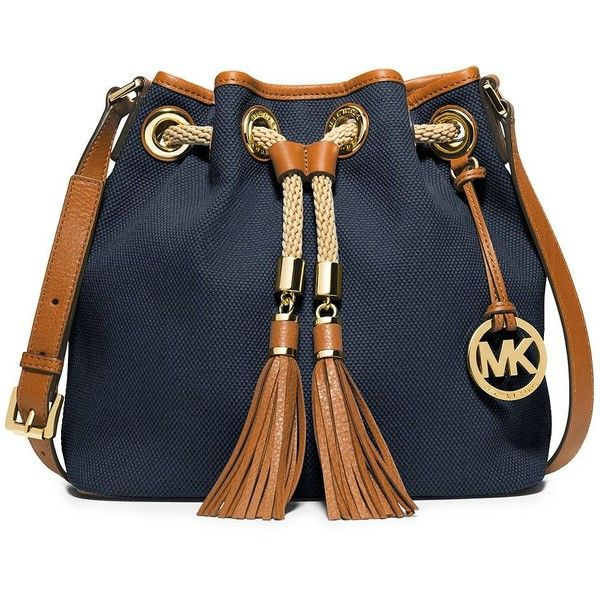 MICHAEL MICHAEL KORS Marina Canvas Medium Messenger Bag ($198) ❤ liked on Polyvore featuring bags, navy, canvas courier bag, blue canvas bag, tassel bag, navy messenger bag et blue messenger bag