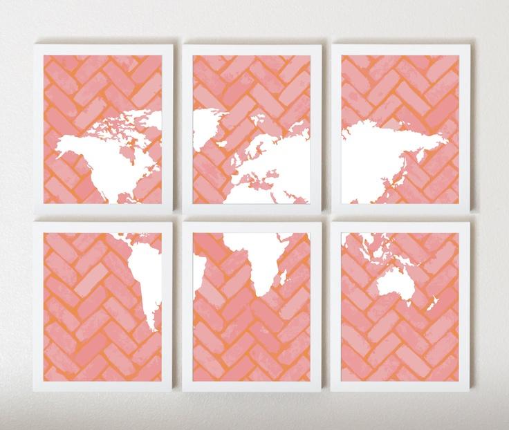 Atfiona Taylor World Map On Chevron In Pink Orange In 6 By Thirdfloordesign