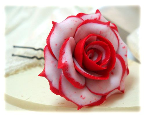 red and white rose hair pins