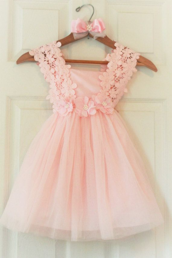 Pink Flower Girl Dress Flower Girl Dress by JudithBridalHouse