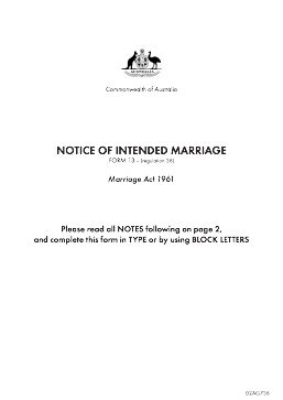 Wed by Ned : Legal side of marriage : Downloadable 'Notice of Intended Marriage'