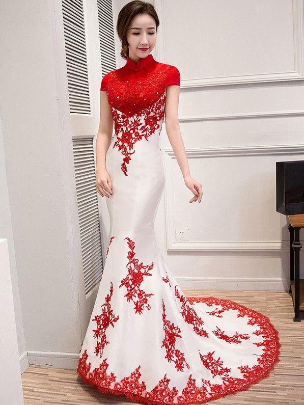 Custom Tailored Colorblock Qipao / Cheongsam Wedding Dress with Mermaid Train