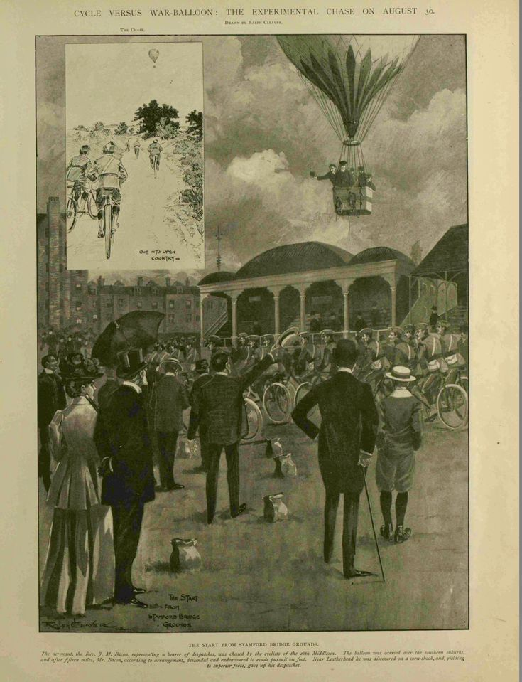 1902 Hot air balloon versus bicycle, showing the old
