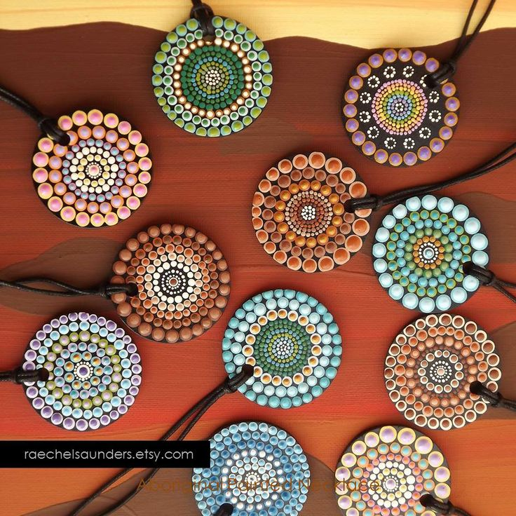 Hand Painted wood necklaces by Aboriginal Artist Raechel Saunders find more: https://www.etsy.com/au/shop/RaechelSaunders?section_id=13156104&ref=shopsection_leftnav_2