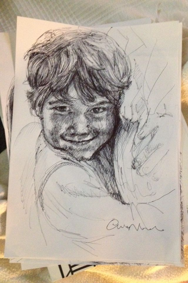 Daniel - black pen drawing by Chiara Nardo