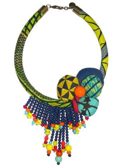www.cewax.fr aime ce collier style ethnique tendance tribale chic tissu africain wax Toubab Paris   Pagnifik