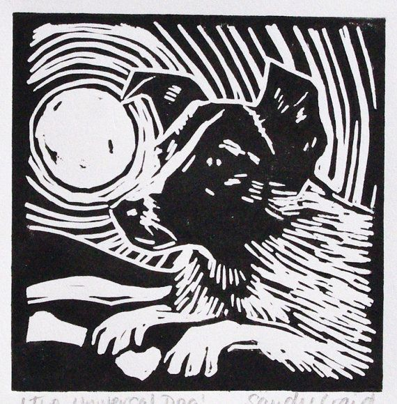 Laika the Dog Original Linocut Black + White Lino Print with Mount