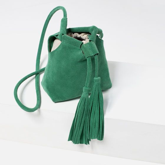 Image 5 of SPLIT SUEDE CROSSBODY BAG WITH TASSELS from Zara