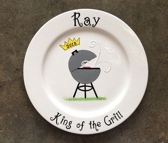 """Personalized Hand Painted Ceramic BBQ Plate or Special Occasion Plate-10"""" rim plate"""