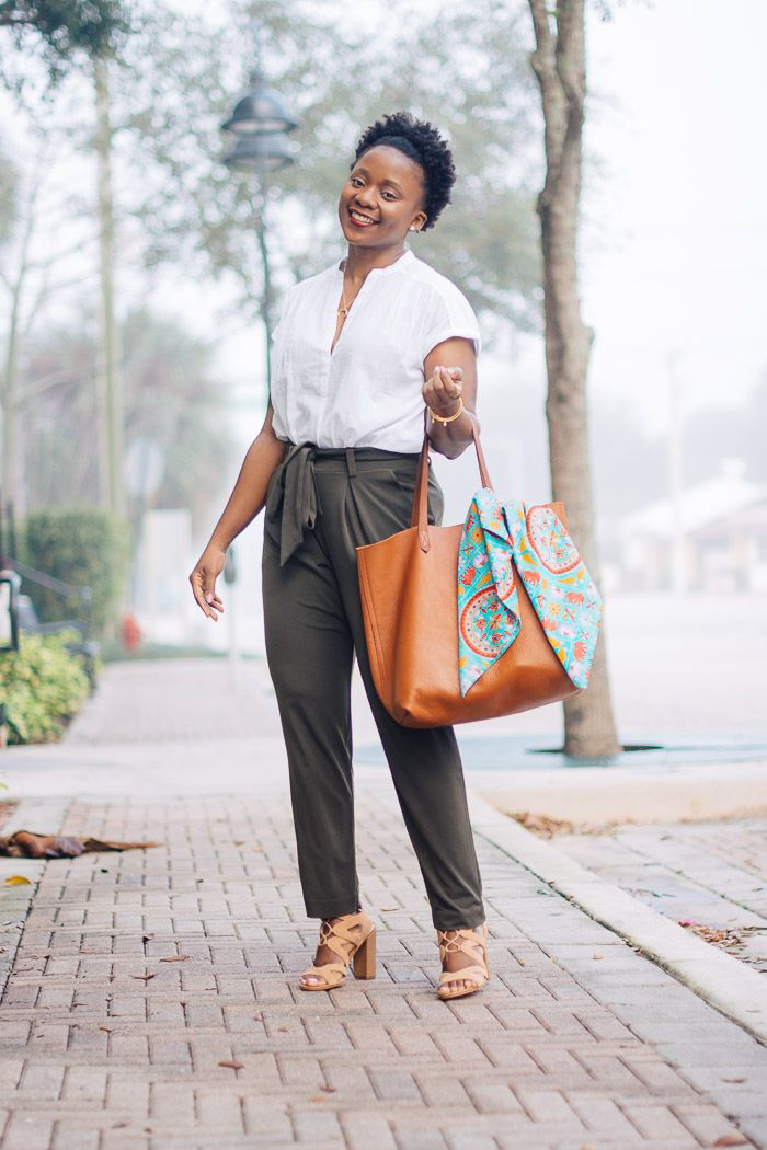 outfit with olive pants, paper bag pants, women work outfit