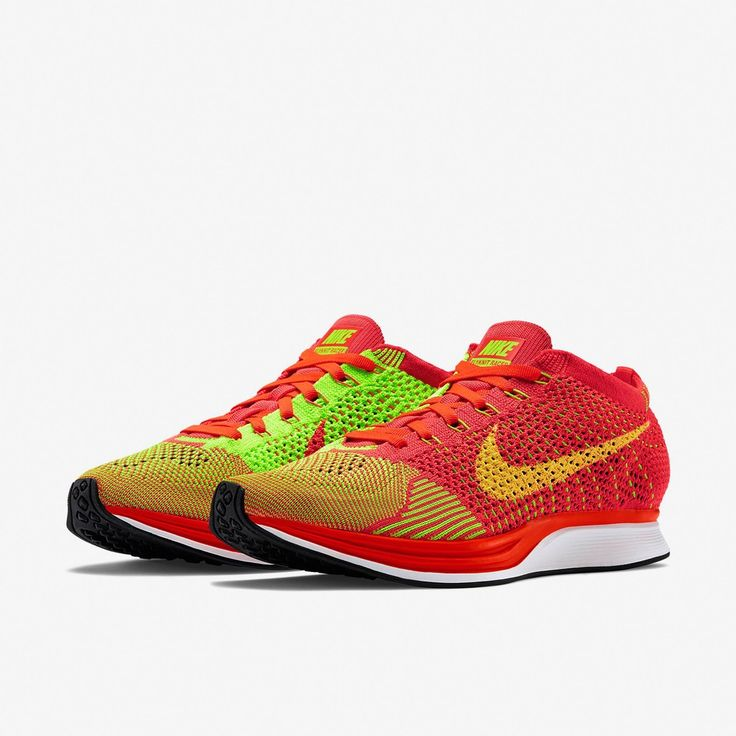 Baratas 2015 Zapatos Nike Flyknit Racer Hombre 77001-035 Rojo/Voltio Zapatillas running