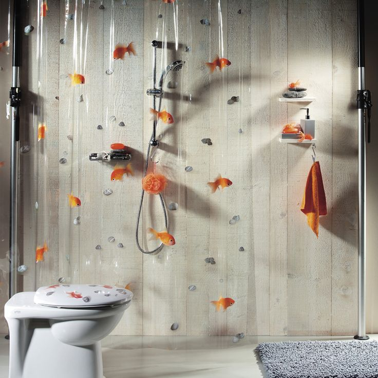 Spirella Duschdraperi Goldfish Orange - Hem & Trädgård