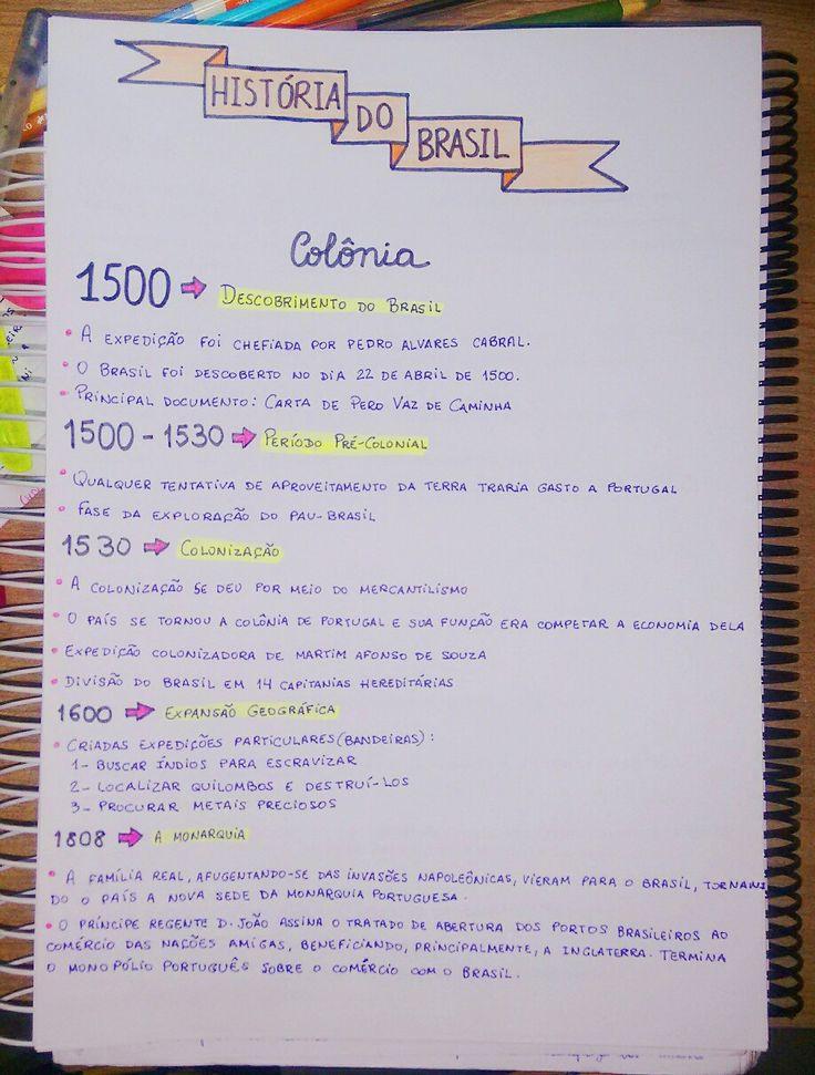 Resumo de história: Brasil Colônia