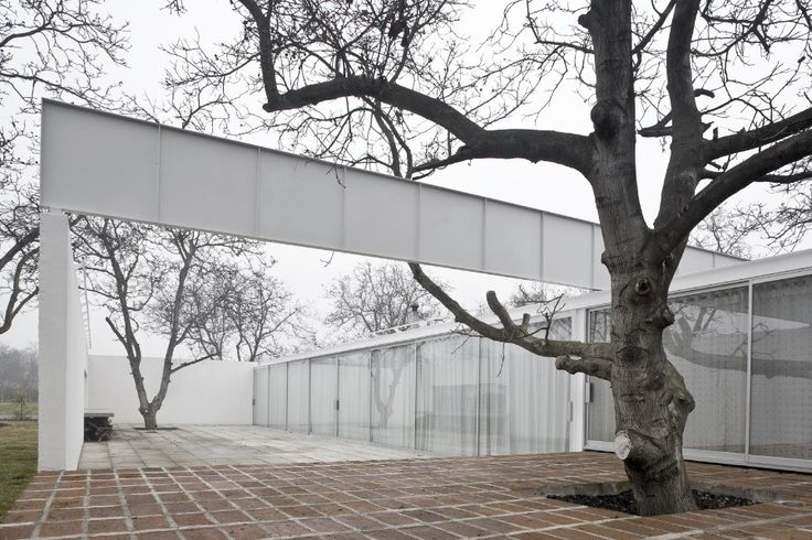 Casa Chilena 1 y 2 / Smiljan Radic _ alvar aalto inspiration [seem]; courtyard; trees around frames [made by walls]; flexibility