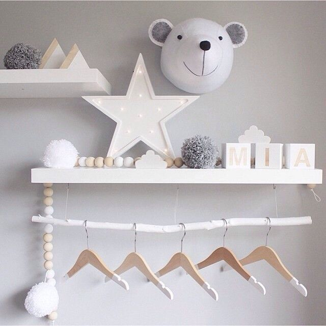 Floating amongst the stars. ☆ A beautiful collection styled by @peachybaby_ ☆ Find our beautiful Bella Buttercup colour dipped hangers in store now. x #hungoncolour #dippedhangers #kidsinterior #exposedwardrobe #littlespaces #kidsrooms #bear #stars #clouds #bellabuttercup #thegatheredstore