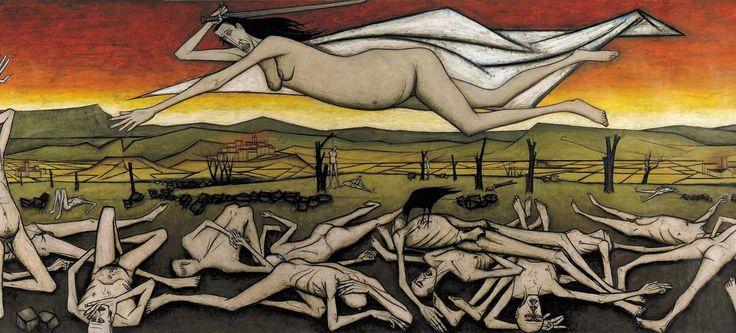 Cette rétrospective passionnante et inédite fait valoir le peintre d'histoire qui se confronte aux grands thèmes de la peinture, dans d'immenses formats qui évoquent les retables gothiques et la mythologie. Ici, «L'Ange de la guerre» (détails), Bernard Buffet, 1954.
