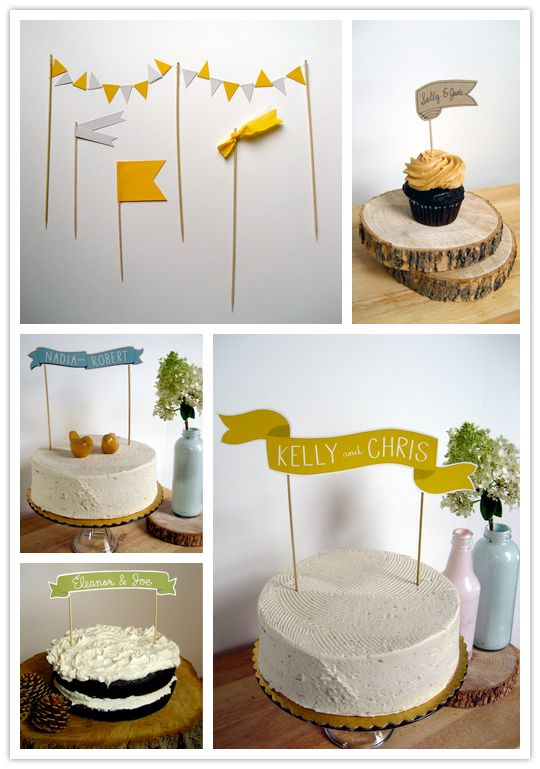 cute banners and bunting for cakes and cupcakes