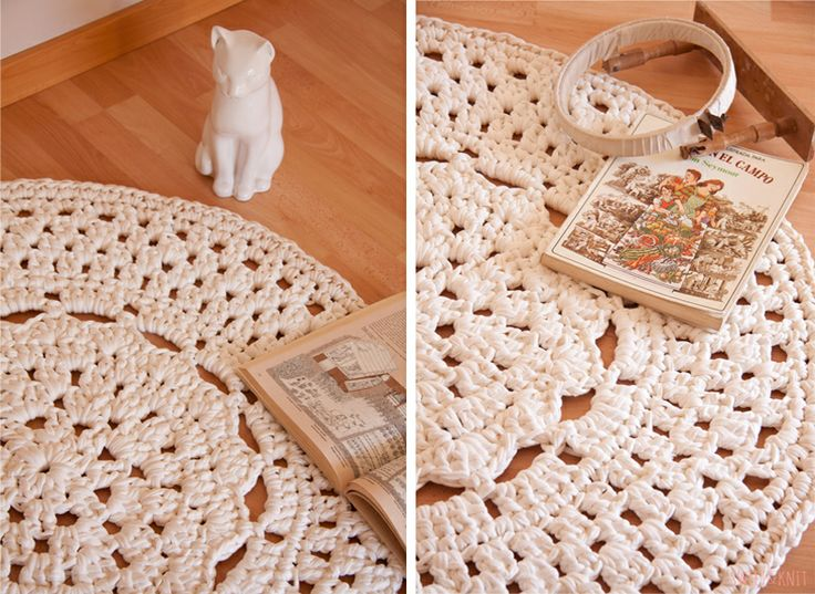 Sweet&Knit: Patrón de Alfombra de Ganchillo XXL con flor en el centro