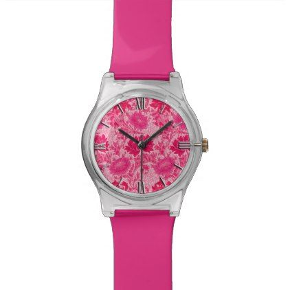 William Morris Chrysanthemums Fuchsia Pink Watch  $47.95  by Floridity  - cyo customize personalize diy idea