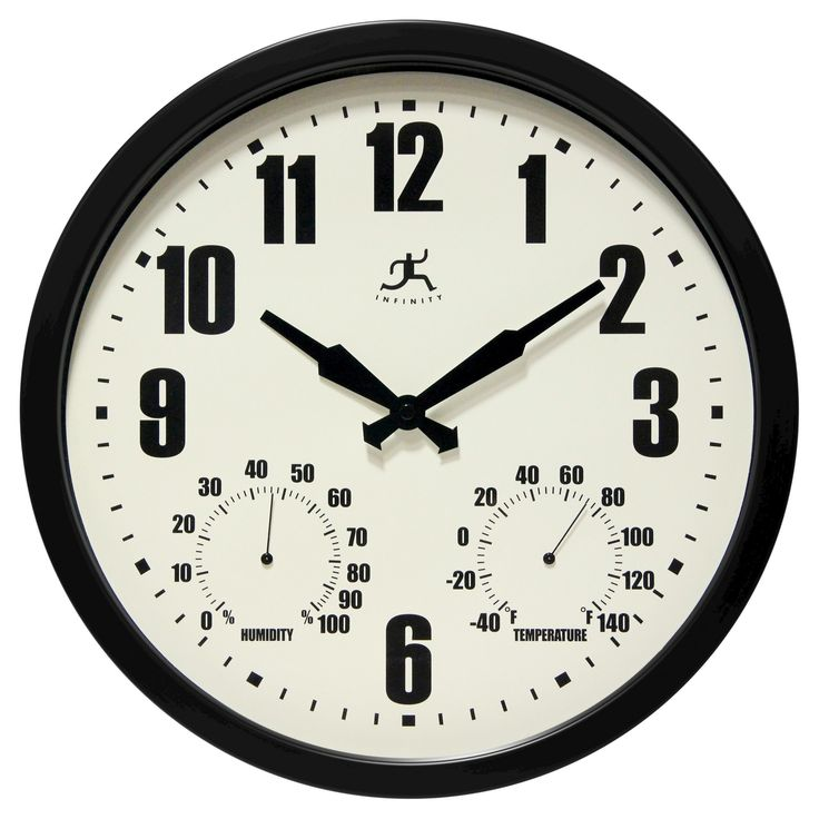 Infinity Instruments Time and Weather Outdoor Clock - 14D - Black, Off White
