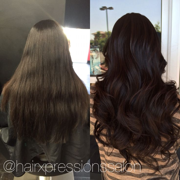 @hairxpressionssalonlv tape in extensions before and after add some shine to hair without even doing a color process rich chocolate dark brown with natural subtle highlights