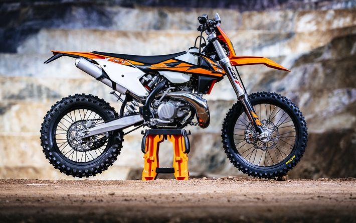 Download wallpapers KTM EXC TPI, 4k, motocross, 2018 bikes, KTM